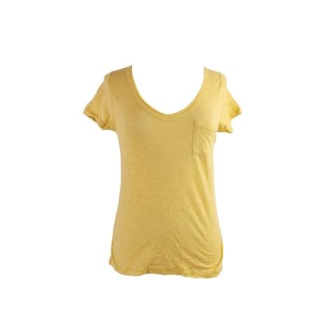 Maison Jules Yellow Short-Sleeve V-Neck Tee XS