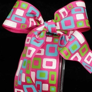 "Retro Pink, Green, Blue and White Wired Craft Ribbon 1.5"" x 27 Yards"
