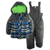 Rugged Bear Baby Boys' Plaid Snowboard Expedition 2Pc Snowsuit Ski Bib Pant Set