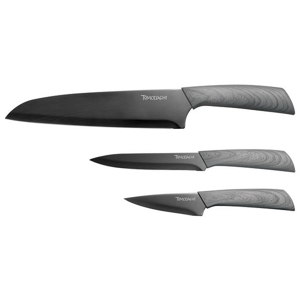 Hampton Forge Tomodachi 6 Piece Kitchen Knife Set - 3 Titanium Coated Black  Blade Chef Knives with 3 Sheaf Covers