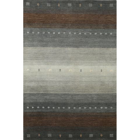 """Contemporary Tribal Gabbeh Oriental Area Rug Wool Hand-knotted Carpet - 5'8"""" x 7'10"""""""