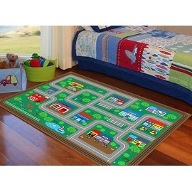 4x6 5x7 7x10 8x10 Green Boys Girls Country Road City Kids Area Rug Carpet Washable Rubber Backing