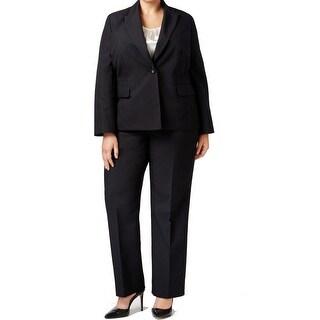 Le Suit NEW Black Womens Size 16W Plus Damask Stripe 3-Piece Pant Suit