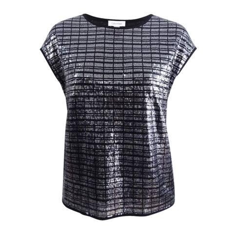 Calvin Klein Silver Women's Size 1X Shimmer Sequin Plaid Blouse
