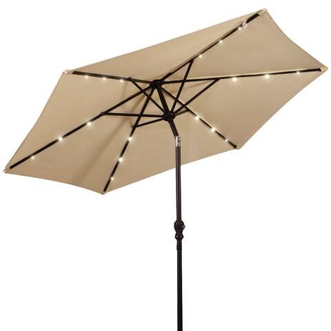 Costway 9FT Patio Solar Umbrella LED Patio Market Steel Tilt W/ Crank Outdoor