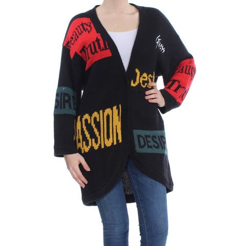 56daf2340e2 SALE. GUESS Womens Black Printed Cardigan Long Sleeve Open Cardigan Sweater  Size  M