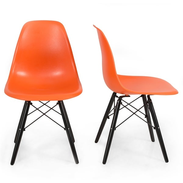 Belleze Orange Mid Century Eiffel DSW Style Side Dining Chair Accent Chairs  Black Wood Legs Lounge