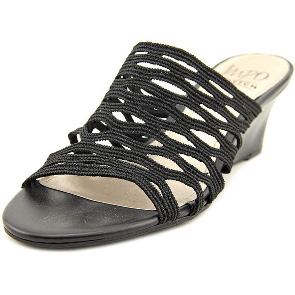 Impo Jackie Women Open Toe Canvas Black Wedge Sandal