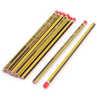 Unique Bargains Yellow Blk Vertical Stripes Hexagonal HB Pencil 12 Pcs