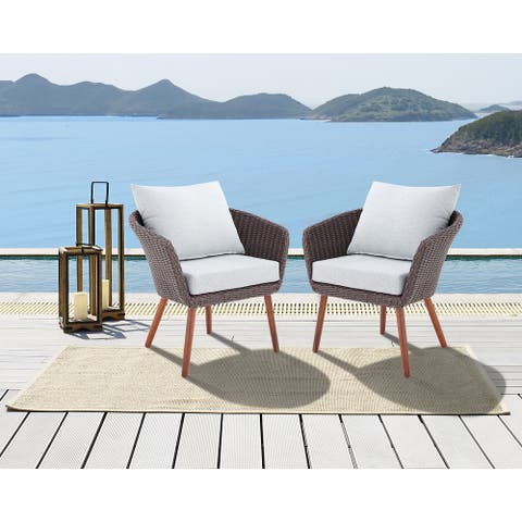 Caluma Brown Wicker Chairs with Cushions (Set of 2) by Havenside Home
