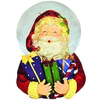 "6.5"" Jolly Santa Claus Holding Bundle of Christmas Presents Glitterdome Figure - multi"