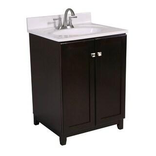 "Design House 612705 25"" Freestanding Vanity Cabinet with Marble Vanity Top - Espresso"