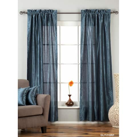 "Navy Blue Rod Pocket Textured Curtain / Drape / Panel - 84"" - Piece - 43 X 84 Inches (109 X 213 Cms)"