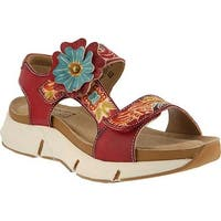 L'Artiste by Spring Step Women's Vergie Strappy Sandal Red Leather