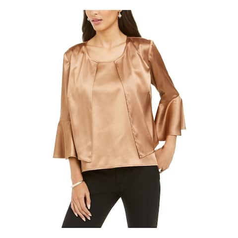 28th & Park Brown 3/4 Sleeve Blouse Top 12