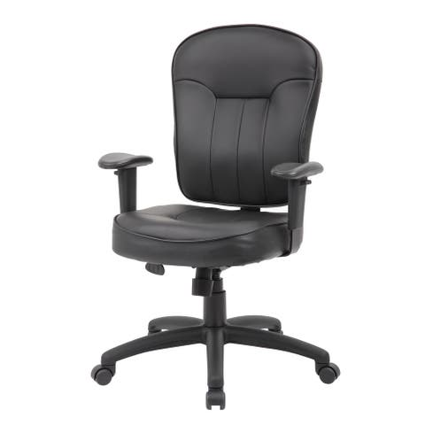 Boss Black Leather Task Chair W/ Adjustable Arms