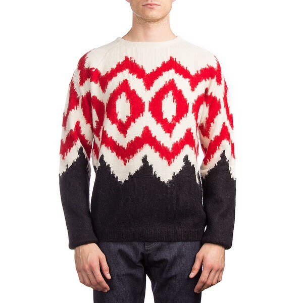 b5b3f8d421df Shop Prada Men s Alpaca Wool Argyle Crewneck Sweater White - Free ...