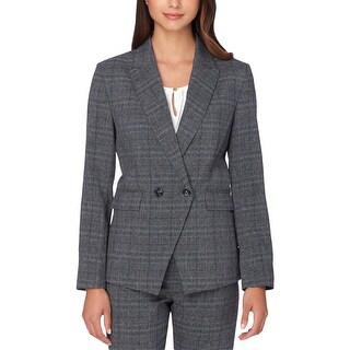 Tahari Womens Petites Double-Breasted Blazer Plaid Shoulder Pads