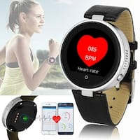 #1 iPhone & Android Compatible SmartWatch - SMS Push Notification - Bluetooth Sync - Heart Rate - Fitness - Pedometer