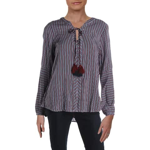 4Our Dreamers Womens Blouse Striped V-Neck - Navy/Red/White