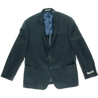 DKNY Mens Wool Herringbone Two-Button Suit Jacket