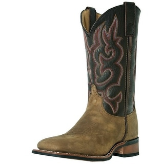 Laredo Western Boots Men Lodi Stockman Square Toe Taupe Chocolate 7898