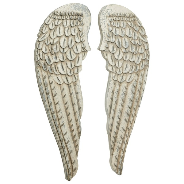 "Large Distressed White Angel Wings Wood Wall Art Set of 2 13"" x 40.50"" Each. Opens flyout."
