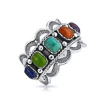 Bling Jewelry Southwest Style Synthetic Multistone Scalloped Edge 925 Silver Ring
