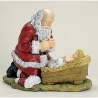 """12"""" Religious Kneeling Santa Claus with Baby Jesus Christmas Figure - multi"""