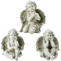 "Set of 3 Sitting Cherub Angel Decorative Outdoor Garden Statues 11"" - N/A"
