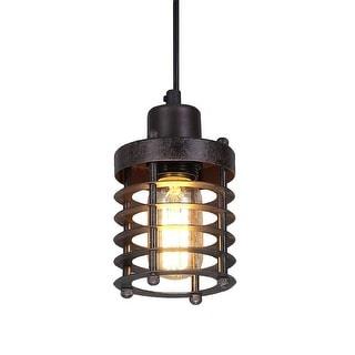 Mini cage rustic pendant light fixture, industrial pendant lamp