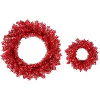 "Set of 2 Sparkling Red Hot Artificial Christmas Wreaths 10"" & 18"" - Unlit"