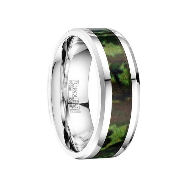 BALROG Polished Cobalt Men's Wedding Ring Camo Inlay by Crown Ring - 8mm