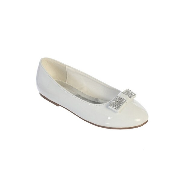 3d0467cf06 Little Girls White Rhinestone Bow Accent Patent Leather Flats