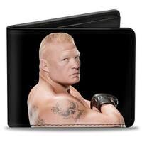 Brock Lesnar Vivid Pose + Brock Lesnar Carnage Skull Black White Bi Fold Bi-Fold Wallet - One Size Fits most