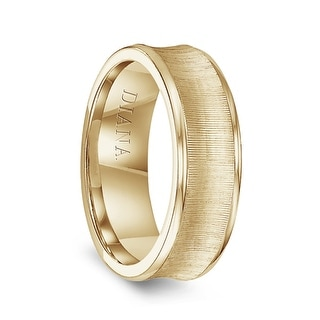 14k Yellow Gold Men S Vertical Finish Concave Wedding Ring By Diana 7mm