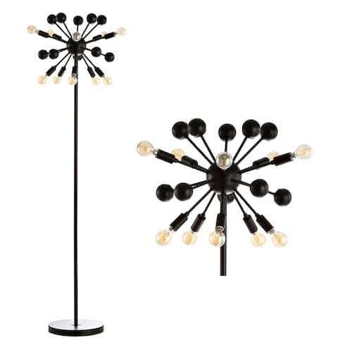 "Orbit 10-Light 63"" Sputnik Metal LED Floor Lamp, Black by JONATHAN Y - 63"" H x 19"" W x 19"" D"