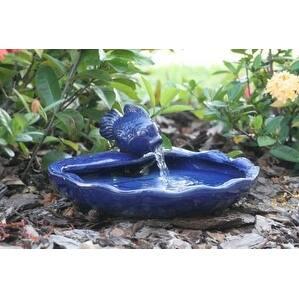 Smart Solar 21372R01 Ceramic Solar Koi Fountain Blue Glazed Finish