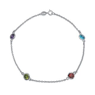 Bling Jewelry Multi Color CZ by the Inch Sterling Silver Anklet