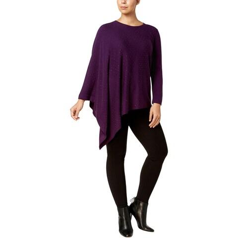 Anne Klein Womens Plus Cape Sweater Jeweled Asymmetrical