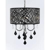 Indoor 4 Light Chrome & Crystal Chandelier Pendant with Black Crystal