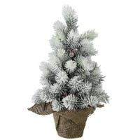 "15"" Flocked Mini Pine Christmas Tree with Berries in Burlap Covered Vase - RED"