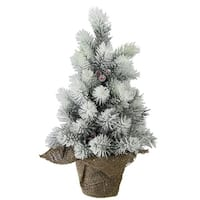 "15"" Flocked Mini Pine Christmas Tree with Berries in Burlap Covered Vase"