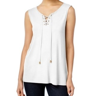 Vince Camuto NEW White Gold Women's Size Medium M Lace Up Tank Top