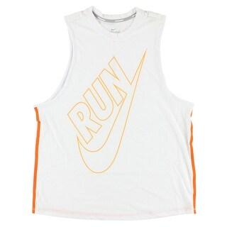 Nike Womens Dri Fit Tailwind Loose Tank Top White - White/orange
