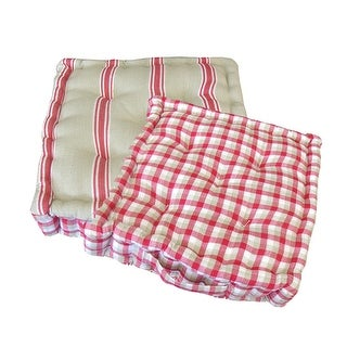 """15"""" Plush Pink, White and Beige Striped Reversible Indoor Chair Cushion"""