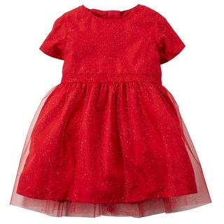 """Carter's Little Girls' Special Occasion Holiday """"Glitter Tulle"""" Dress- Red"""
