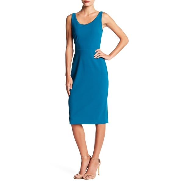 Shop Betsey Johnson Crepe Scoop Neck Midi Dress Teal 8 Free