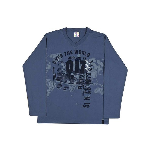 Tween Boy Long Sleeve Shirt V-Neck Graphic Tee Pulla Bulla Sizes 10-16 Years
