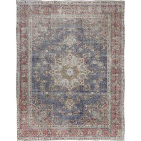 "Silver Blue Vintage Worn Down Persian Tabriz Handmade (9'6""x12'4"") - 9'6"" x 12'4"""